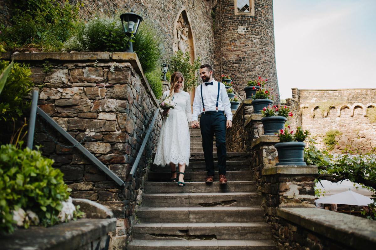 Brautpaar auf Burg Rheinstein